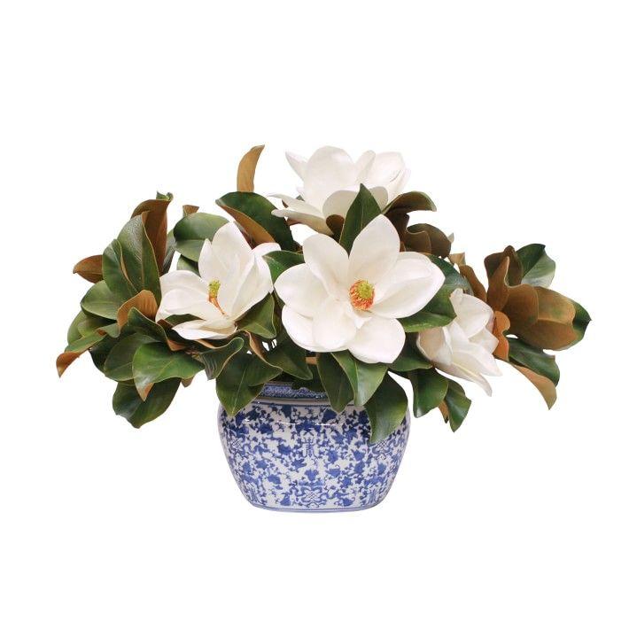 Faux Magnolias In Blue And White Vessel Blue And White Vase Faux Floral Arrangement Fall Floral Arrangements