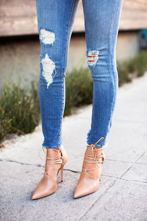 Distressed Jeans | Nude Strappy Heels | Ripped Jeans ...