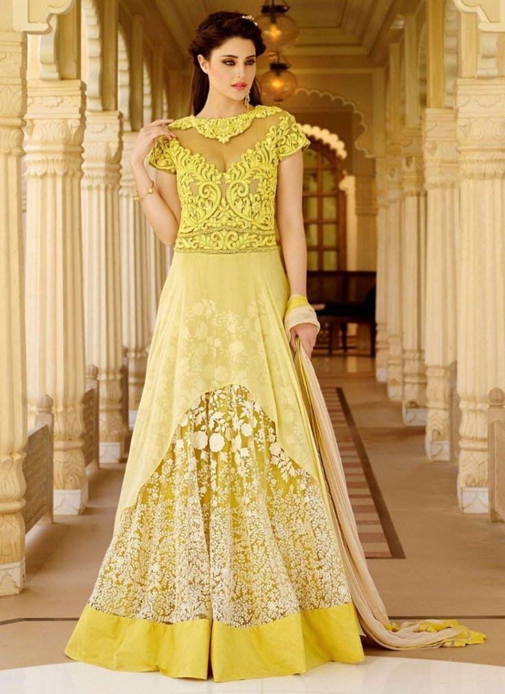 Incredible Yellow Party Wear Anarkali Salwar Kameez