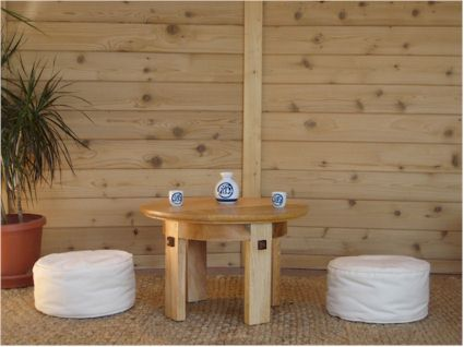 Meditation Tea Table With Zafu Cushions. The Cushions Can Be Tucked Under  The Table For
