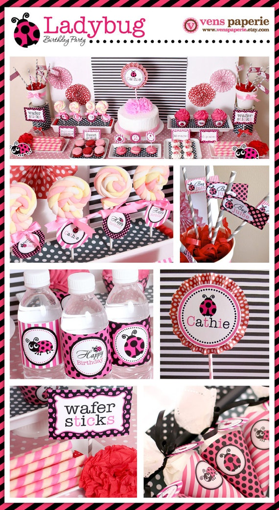 pink ladybug party , DIY decoration by venspaperie: First Birthday Parties, Diy Printable, 1St Birthday, Parties Ideas, Pink Ladybugs, Diy Decor, Lady Bugs, Ladybugs Parties, Ladybugs Birthday