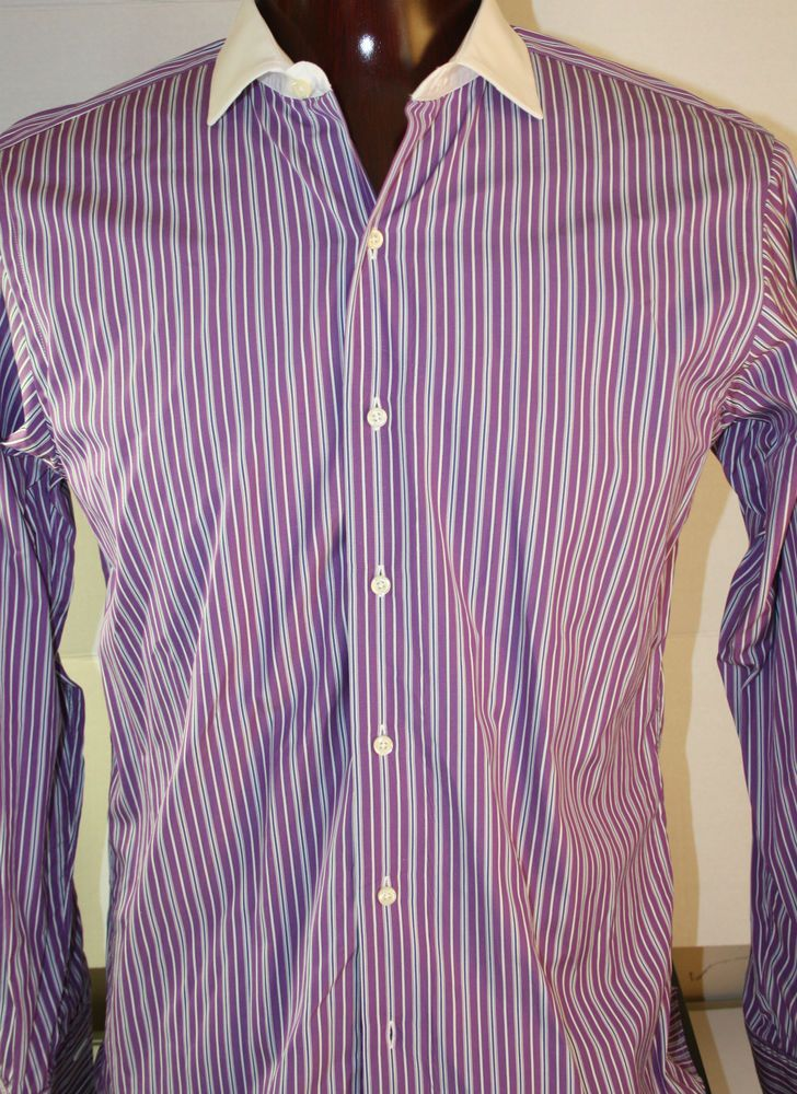 Brooks Brothers Mens Button Front Dress Shirt Slim Fit French Cuff 16 X 34