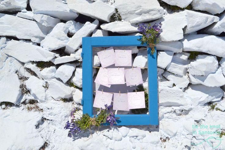 #rustic DIY Santorini Wedding-l #guestbook  See the full post here:http://tietheknotsantorini.com/blog/diy-santorini-wedding-decor-blue-purple