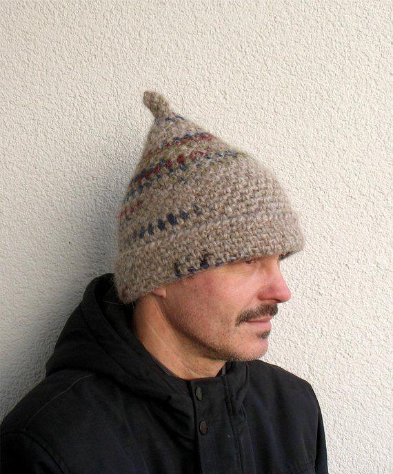 1850c2b6b7a Mens winter hat 100% natural icelandic wool light beige hat Mens handmade  pure wool hat Mens crochet hat Winter mens hat