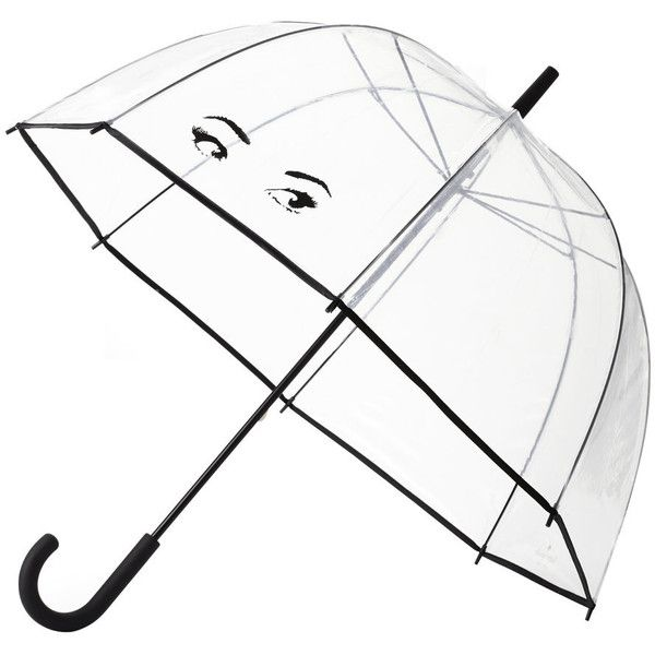 kate spade new york Clear Umbrella - Eyes (110 PEN) ❤ liked on Polyvore featuring accessories, umbrellas, umbrella, filler, guarda chuva, clear, dome shaped umbrella, dome umbrella, print umbrella and see through umbrella