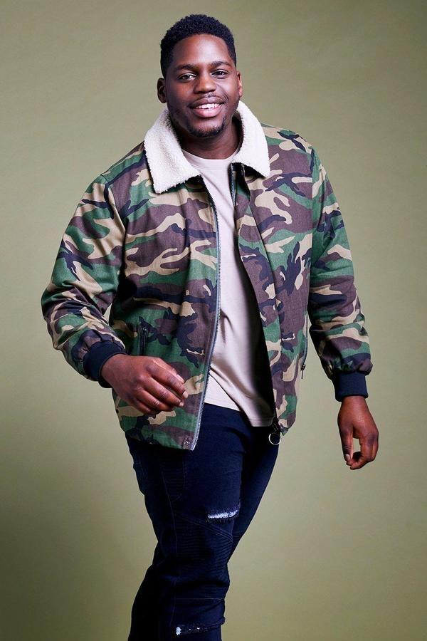boohoo Big And Tall Camo Borg Collar Jacket