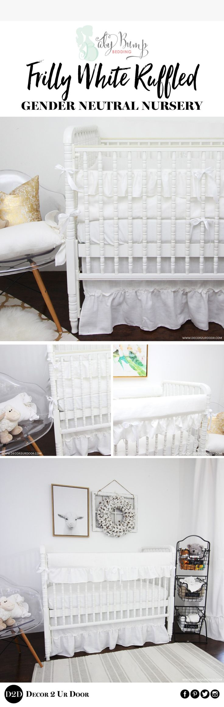 White out! Sweet simplicity. There are so many fun ways to style this white linen ruffled frilly baby bedding. Of course, this white linen baby bedding look is gender neutral. We love the flirty ruffles that add dimension and fun to this neutral baby bedding set. Our white ruffled frilly look is perfect for your farmhouse inspired nursery!