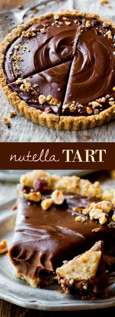Smooth and creamy Nutella tart complete with a toasted hazelnut crust. #chocolate #desserts