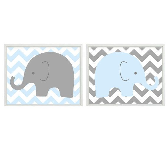 Elephant Nursery Wall Art - Light Blue Gray Chveron Decor  - Children Kid Boy Baby Room - Safari Zoo Set 2 8x10 Print. $30.00, via Etsy.