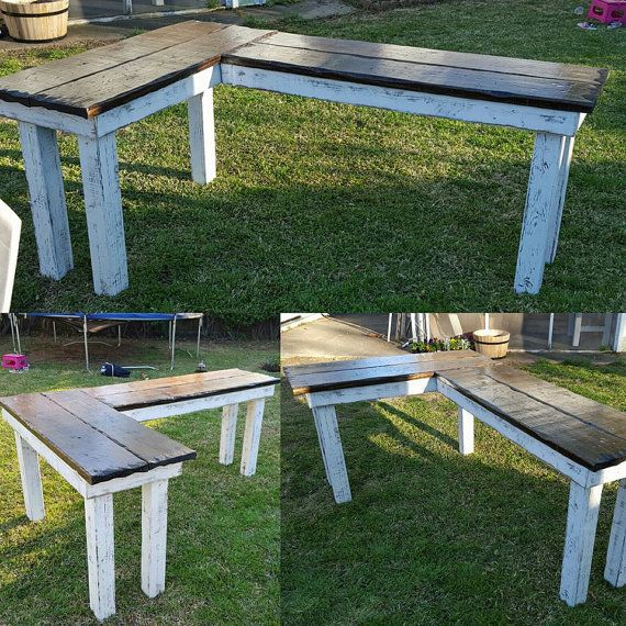 The Rustic Farmhouse L-shaped Desk by LostDogWoodworks on Etsy