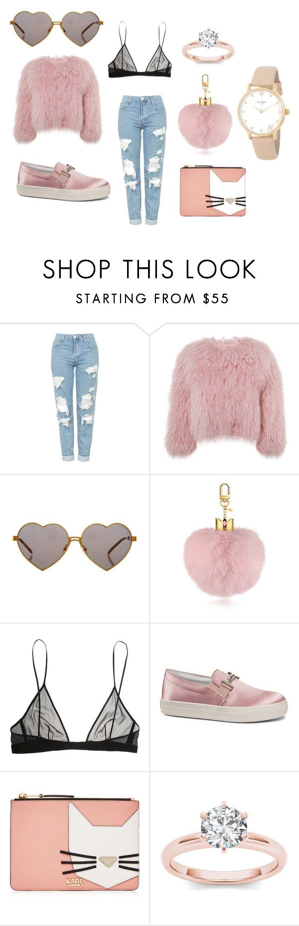 """baby"" by kelsiecloe on Polyvore featuring Topshop, Charlotte Simone, Wildfox, Yves Saint Laurent, Tod's, Karl Lagerfeld and Kate Spade"