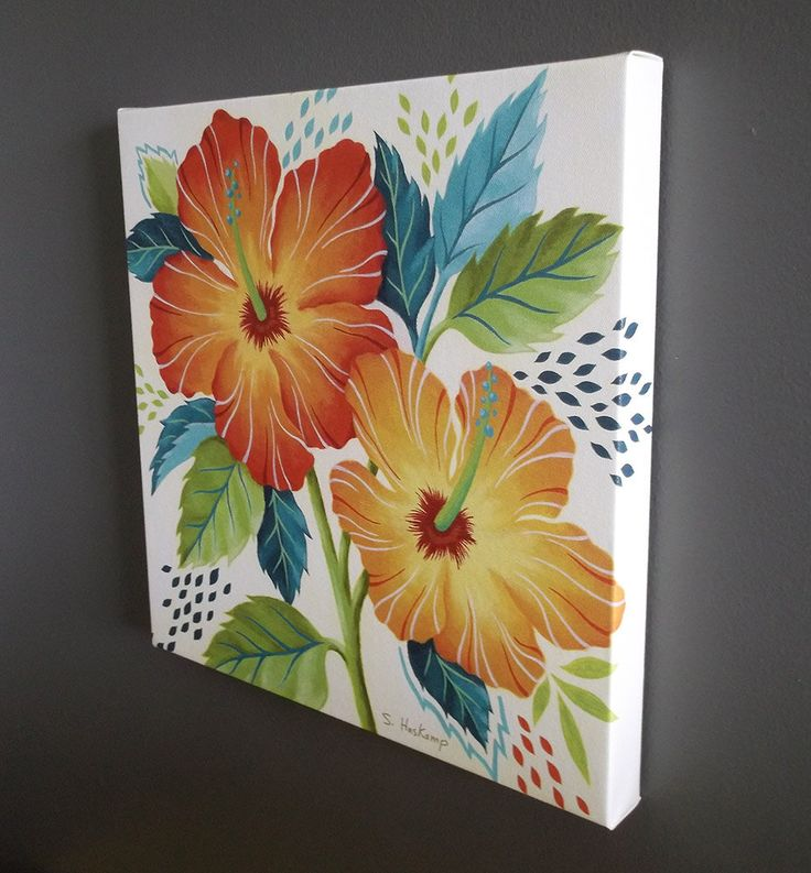 Tropical Hibiscus Gallery Wrapped Canvas Print 14 X 14. $49.00, via Etsy.