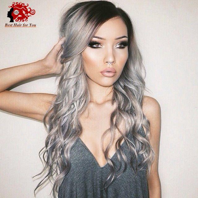 Seitenteil Glueless Lace Front Perücken Ombre Grau zwei Ton Haar Farbe Menschenhaar volle Spitze Perücken Mode Wellig Stil für schwarze Frauen