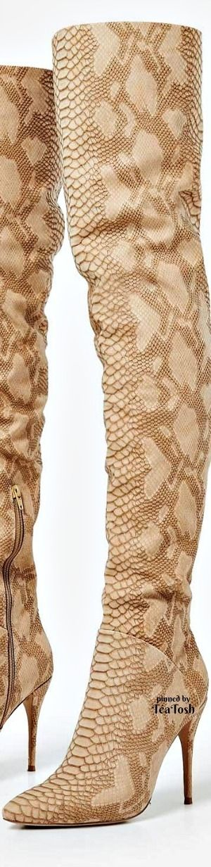 ❇Téa Tosh❇ Over The Knee Long Boot In Nude Snake Faux Leather