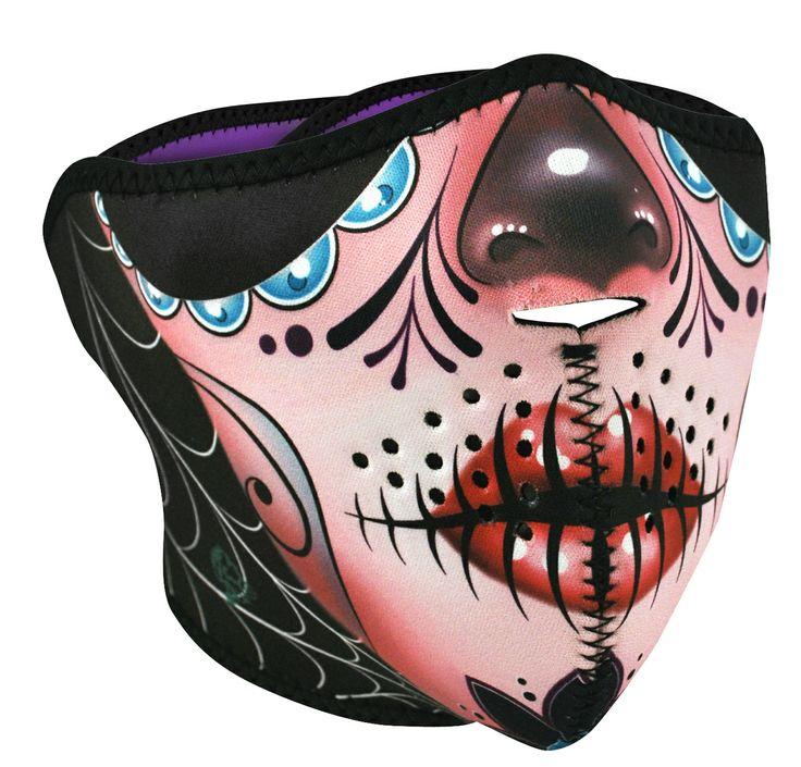 Sugar Skull Neoprene Half Face Mask Neoprene Face Masks & Neodannas: Zan Headgear Neoprene FaceMask