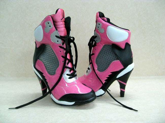 Womens Air Jordan Retro 7 High Heels White Pink Blue shoes