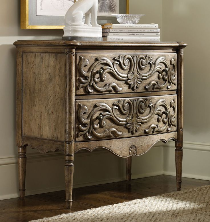 Two Drawer Carved Front Chest by Hooker Furniture - Home Gallery Stores