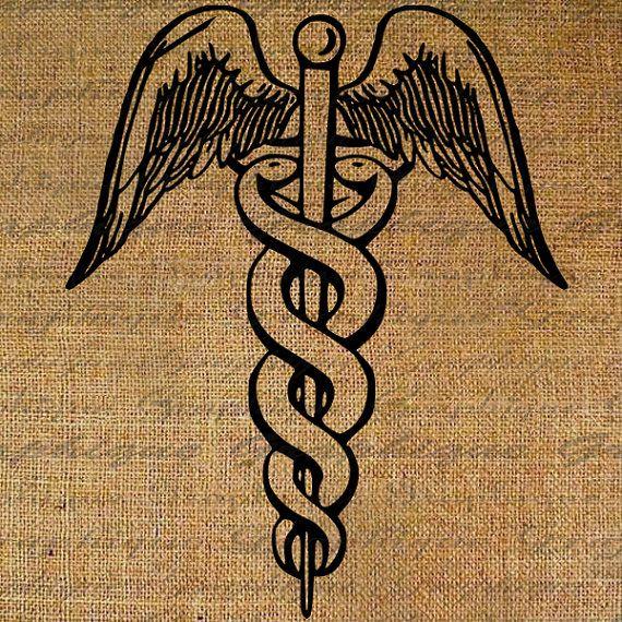 Caduceus Medical Nurse Doctor Medicine Health Digital Image Download Sheet Transfer To Pillows Totes Tea Towels Burlap No. 2510
