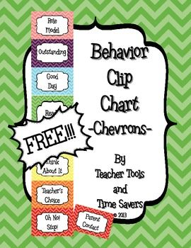 FREE Clip Chart Behavior Management System - Cute Chevrons