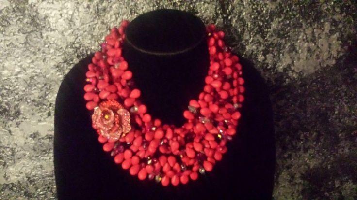 Hot Pink Howlite Statement Necklace Multi Strand Bold Chunky Necklace RHINESTONE ROSE Valentine Jewelry Bridal Wedding Boudoir Sensuous SEXY by KATROXWEARATTITUDE on Etsy