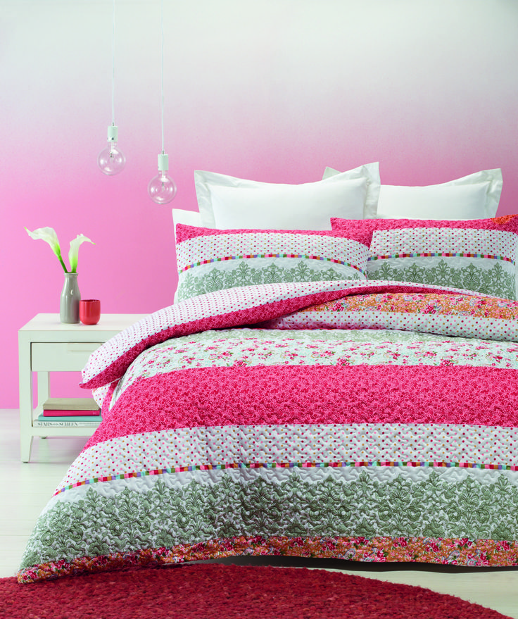 Calypso Quilt Cover Set is a contemporary floral and pattern design presenting tiny attractive flowers and dots giving a refreshing look to your bedroom