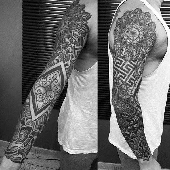 Top 47 Geometric Sleeve Tattoo Ideas 2020 Inspiration Guide Geometric Sleeve Tattoo Geometric Tattoo Sleeve Designs Geometric Tattoo Design