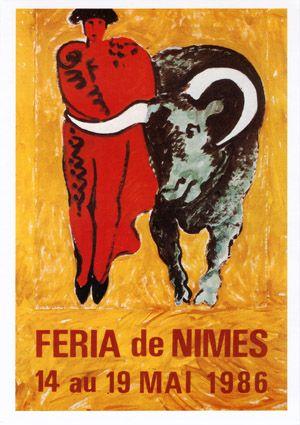 Féria de Nîmes - Affiche 1986 - Artiste Claude Viallat
