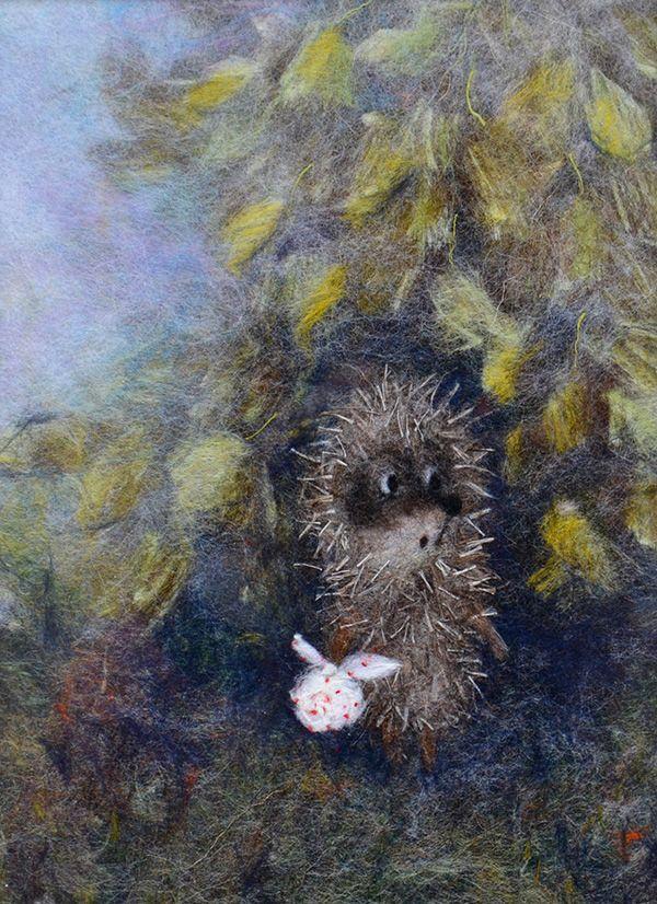 """Ежик в тумане, 15х20см Картина выложена из волокон шерсти, вискозы и шелка по мотивам м/ф Ю. Норштейна """"Ёжик в тумане"""" (художник — Ф. Ярбусова)"""
