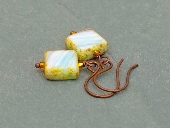 White and gold earrings  by BijoubeadsLondon