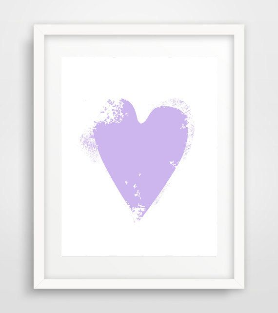 Lilac heart print Heart wall art Lilac Nursery heart by Ikonolexi