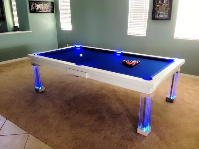 Modern Pool Table With Neon Lights.