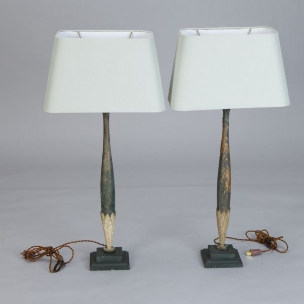 42 best antique vintage lamps images on pinterest vintage pair tall slender lamps made with antique wood fragments pair tall table lamps greentooth Choice Image