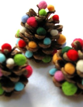 Pine combs and colorful Pom poms make a fun and cute craft to do with my niece!! She will love these! Plus 8 other Holiday crafts kids can make on site.