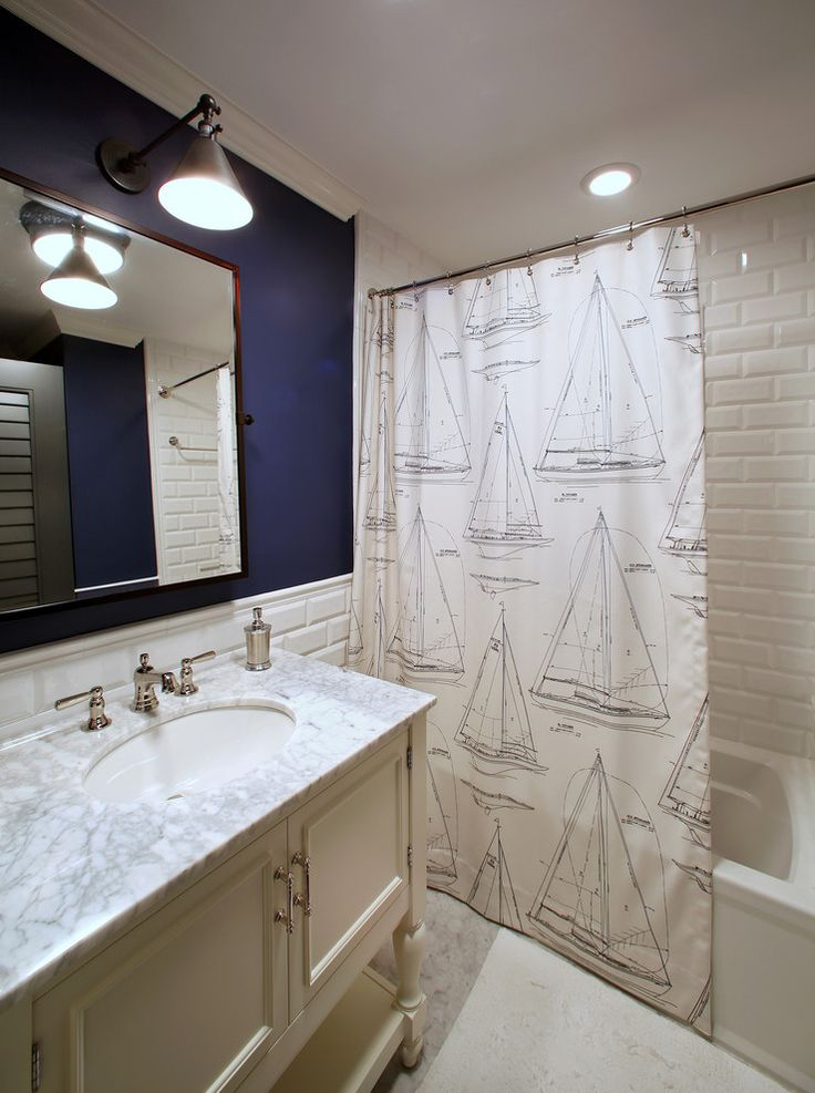 Inspired nautical shower curtain in Bathroom Tropical with Bathroom Backsplash Tile next to Teen Bathroom alongside Navy Blue Walls and Blue Walls