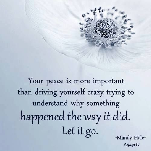 Your peace is more important than driving yourself crazy trying to understand why something happened the way it did. Let it go. | AgapΩ