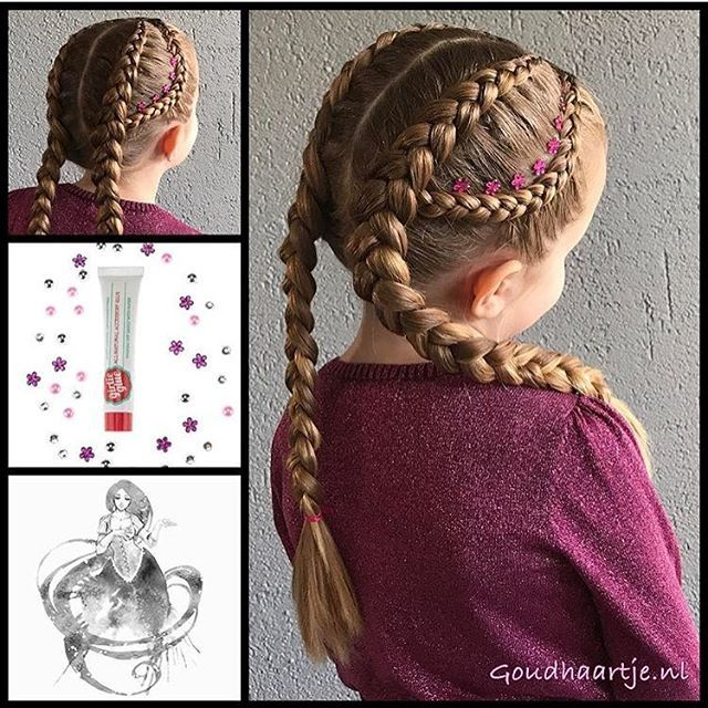 Small lace Dutch braid into double Dutch braids by the lovely @goudhaartje.nl (GO CHEKC OUT HER ACCOUNT...IT'S AMAZING!)! She used @girlieglue to attach the little gems...this product is so great for attaching accessories like this and it washes right out!  Check them both out!