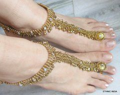 ANKLETS ANTIQUE GOLD TONE PAYAL PAIR , ATTACHED TOERING