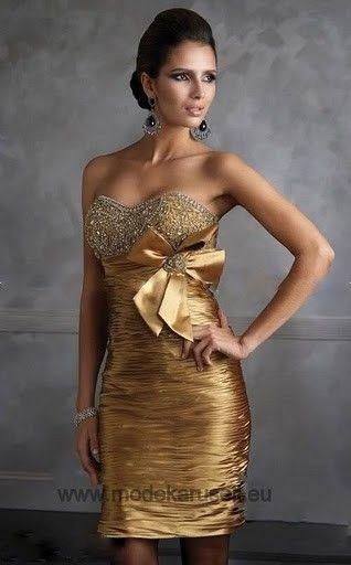 Abendkleid Cocktailkleid Online in Gold