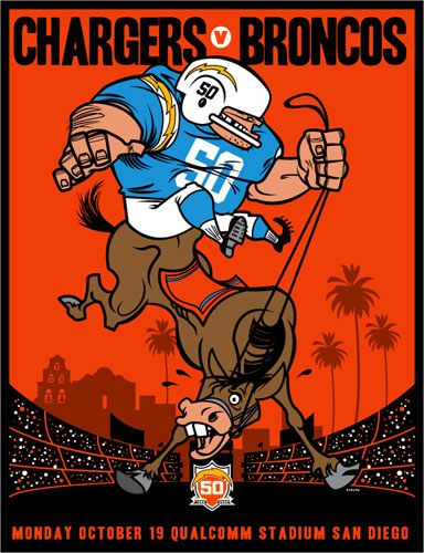 Scrojo Chargers vs Broncos AFL 50th Anniversary Poster