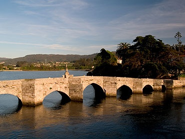 The Roman bridge between Baiona and Nigran.Puentes Romano, Pontevedra