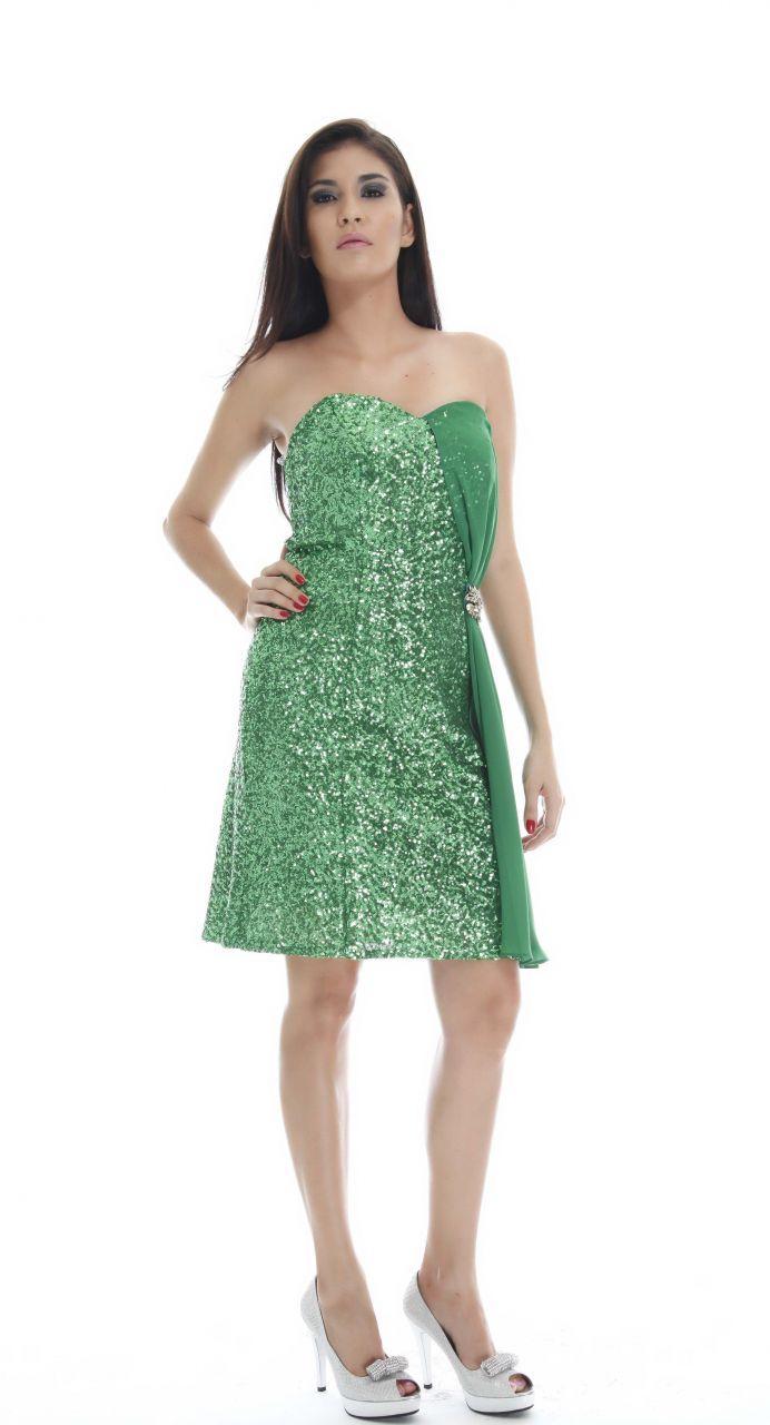 Abiye Modelleri -  Mind Yeşili Göğüs Dekolteli