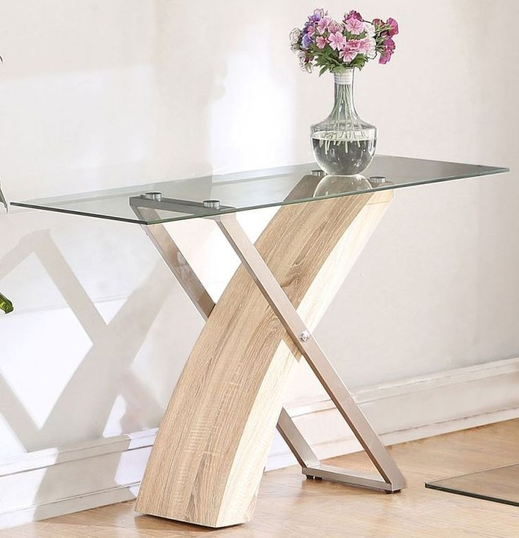 chic glass console table with wood and metal legs