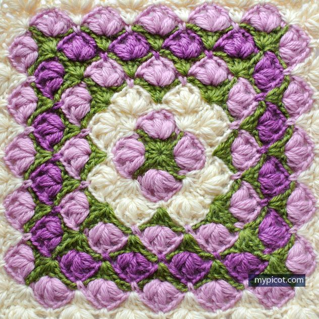 Crochet Puff stitch Square blanket pattern: Diagram + step by step instructions, 3 Color combinations.
