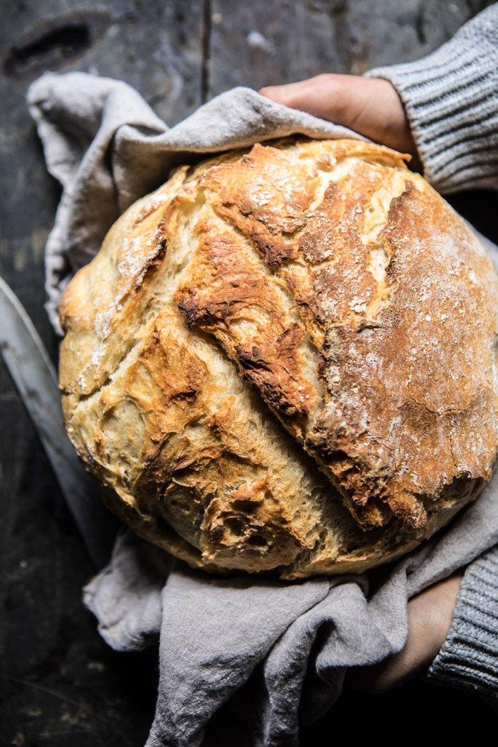 Cheaters No Knead Dutch Oven Sourdough Bread | halfbakedharvest.com @hbharvest via @hbharvest
