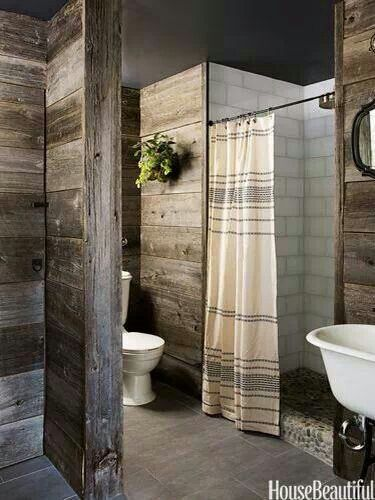 Rustic bathroom. Great for a barn house
