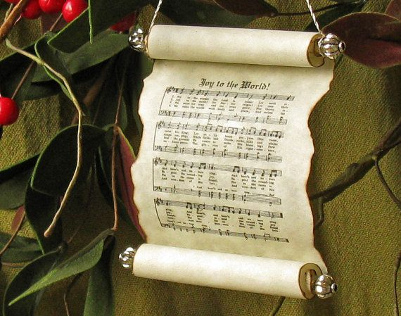 Joy to the World Christmas Scroll Ornament by papuanlass on Etsy, $8.00