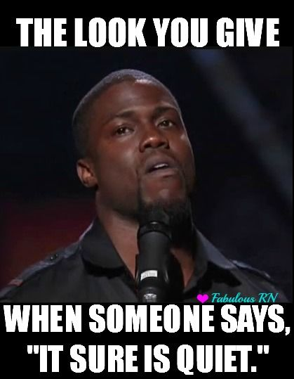 "The look you give when someone says, ""It sure is quiet"". Nurse humor. Nursing funny. Registered Nurses. RN. Kevin Hart. Kevin hart meme. Fabulous RN"