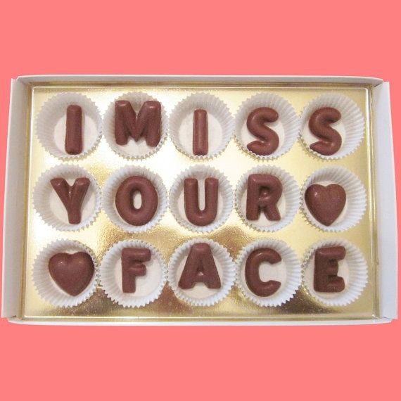 I Miss Your Face Large Milk Chocolate Letters Long Distance Love Gift for Men Women Her Him Made to Order
