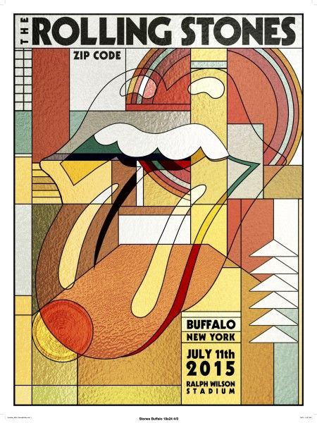 Rolling Stones 'Zip Code' tour poster - Buffalo, NY - July 11, 2015
