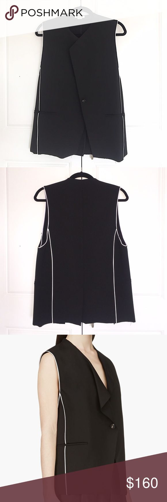 HELMUT LANG Vest w/ White Piping (NWOT) NWOT - This uber trendy black HELMUT LANG wool & cotton blend vest has striking contrast white piping & a one button closure. It can go both casual or dressy, with its blazer style and it's trim-less touches. Never been worn, NWOT. Size small. Helmut Lang Jackets & Coats Vests